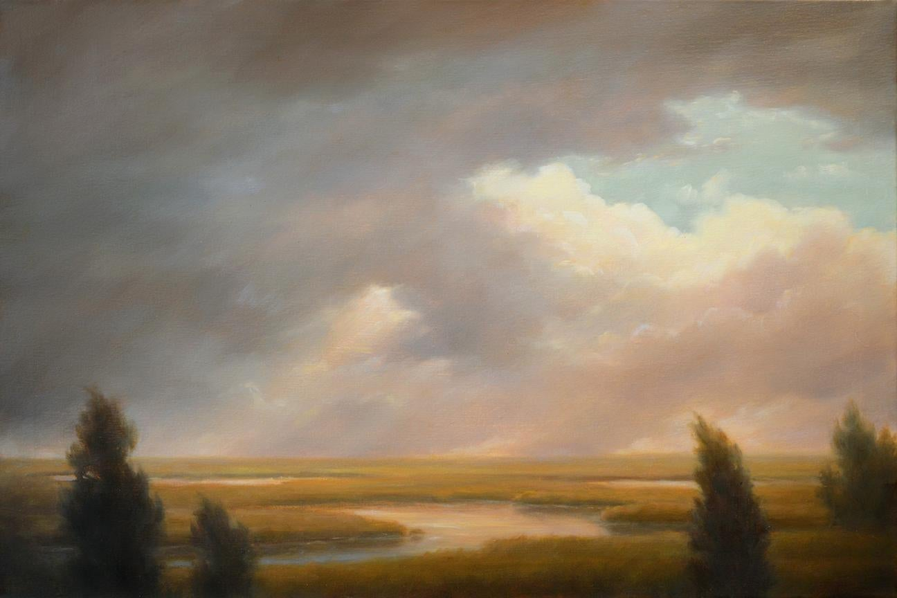 Modern, Hudson River School Style Landscape Painting On Canvas Of Sunlit  Clouds Over A Grassy