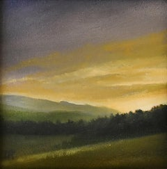 Catskill Evening : Landscape Oil Painting, Countryside Sunset Over Mountains