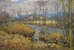 #5548 Old Beattie Farm:  Impressionist En Plein Air Landscape Painting on Linen