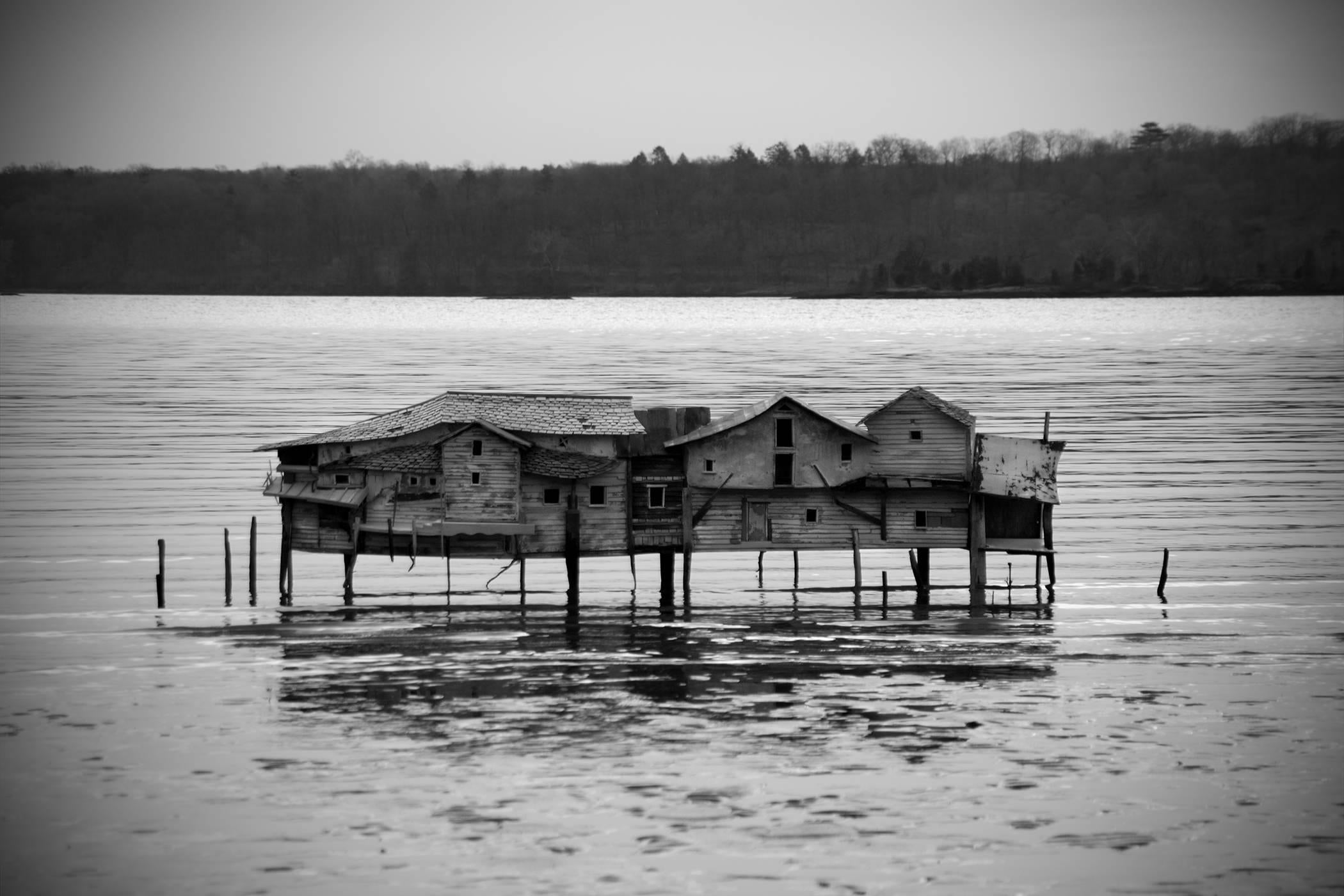 Mudflat House (Black & White Landscape Photograph of a House in Water)