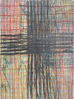 Geography #1 (Modern Cross Hatch Grid in Graphite & Pastels)