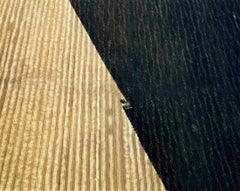 Plowed Fields, Hannibal, MO (Framed Minimalist Aerial Landscape Photograph)