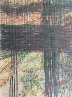 Geography #3 (Abstract Gestural Grid Drawing in Dark & Light Pastels, Framed)
