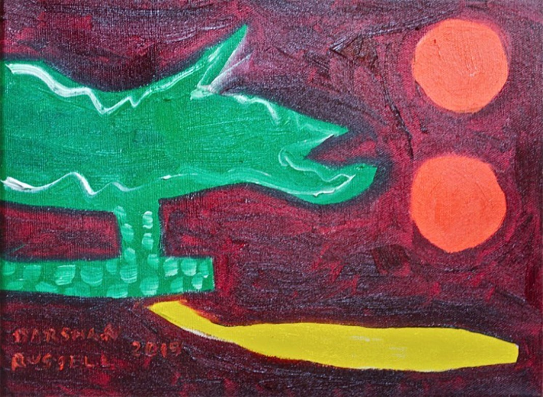 Still Life 2: Modern, Naive Style Still Life Oil Painting of Fruit & Figurine