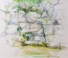 Sandy Beach (Modern, Impressionistic Rock Landscape in Green and Pale Grey)