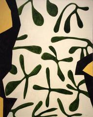 Torso (Modern, Abstract Green, Beige, Black and Yellow Painting on Canvas)