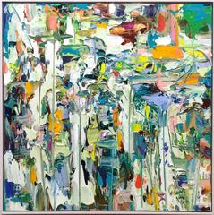 Subtropical (Abstract Expressionist Painting on Canvas in Teal, Green, Orange)