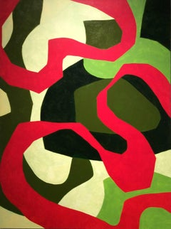 Earth Song (Modern, Abstract Red & Green Acrylic Painting)