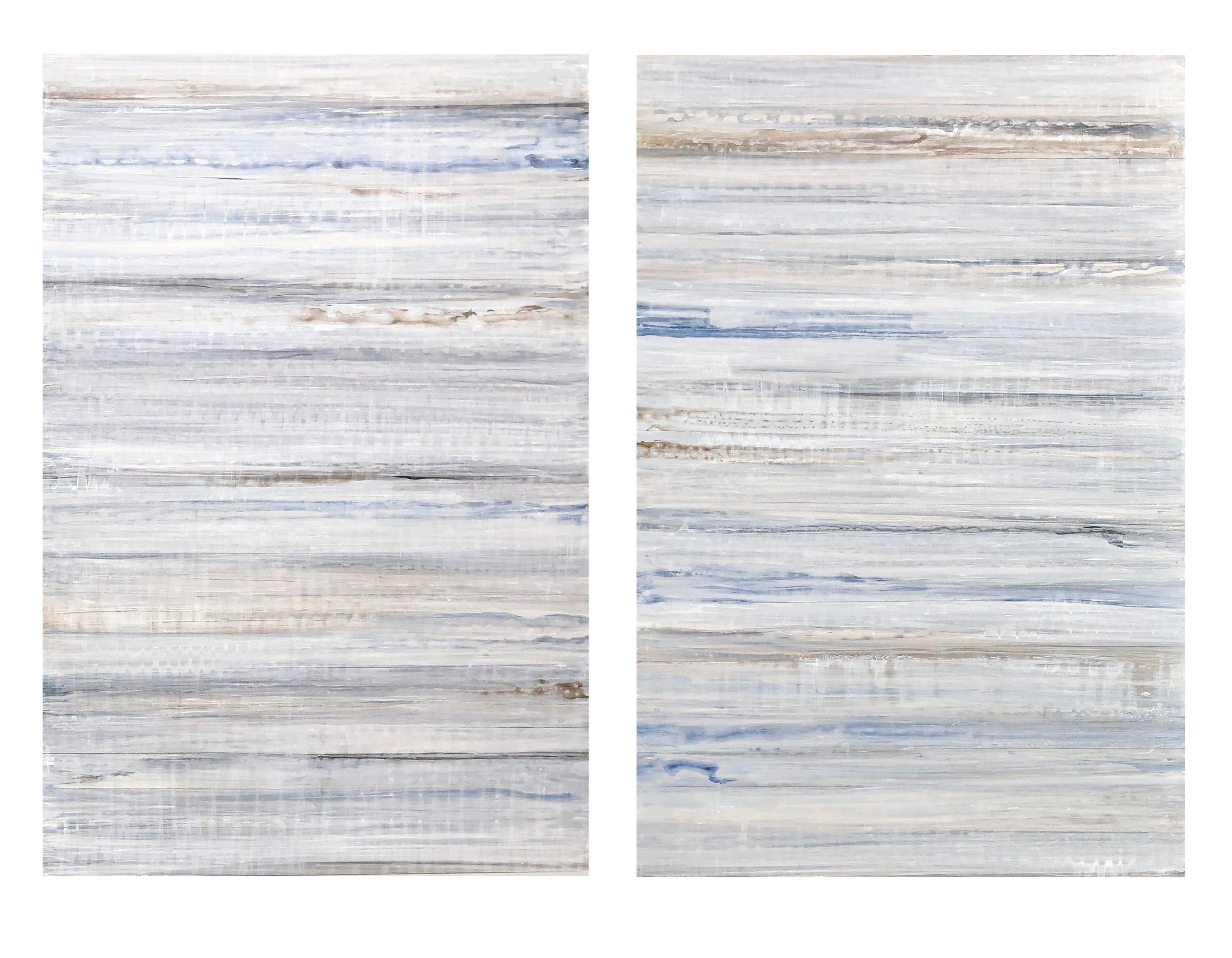 Minimalist Abstract Color Field Painting in Light Blue & White (C19-3)