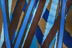 Untitled 011 (Abstract Sky Blue, Ultramarine & Brown Stripe Horizontal Painting)