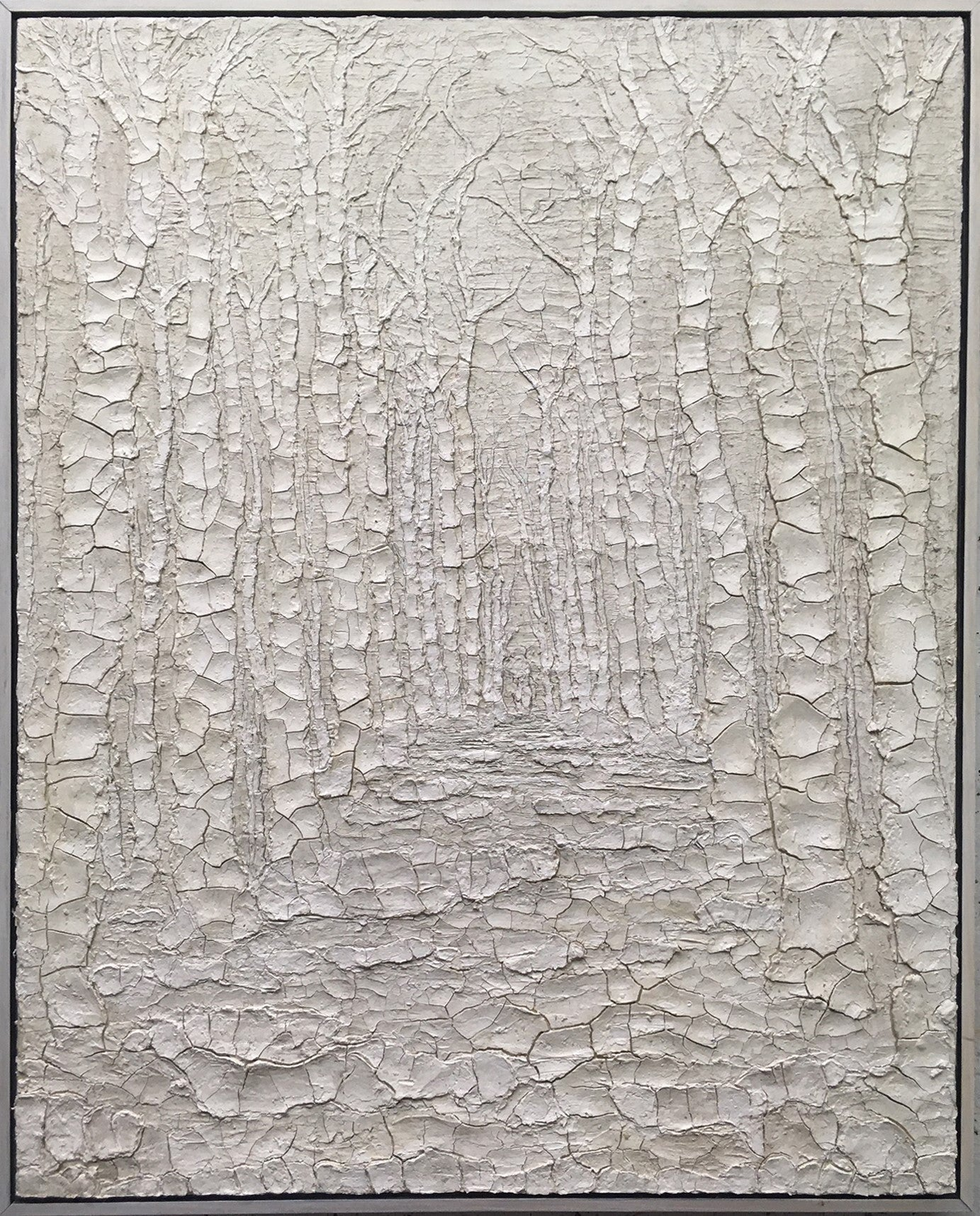 White Light: Large Abstracted Landscape Painting of a Forest in White Clay