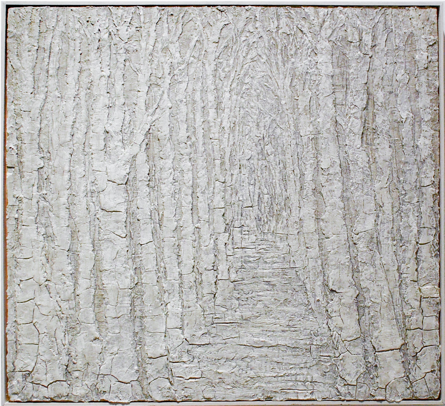 White Trees: Monochromatic Abstracted Landscape Painting of White Forest