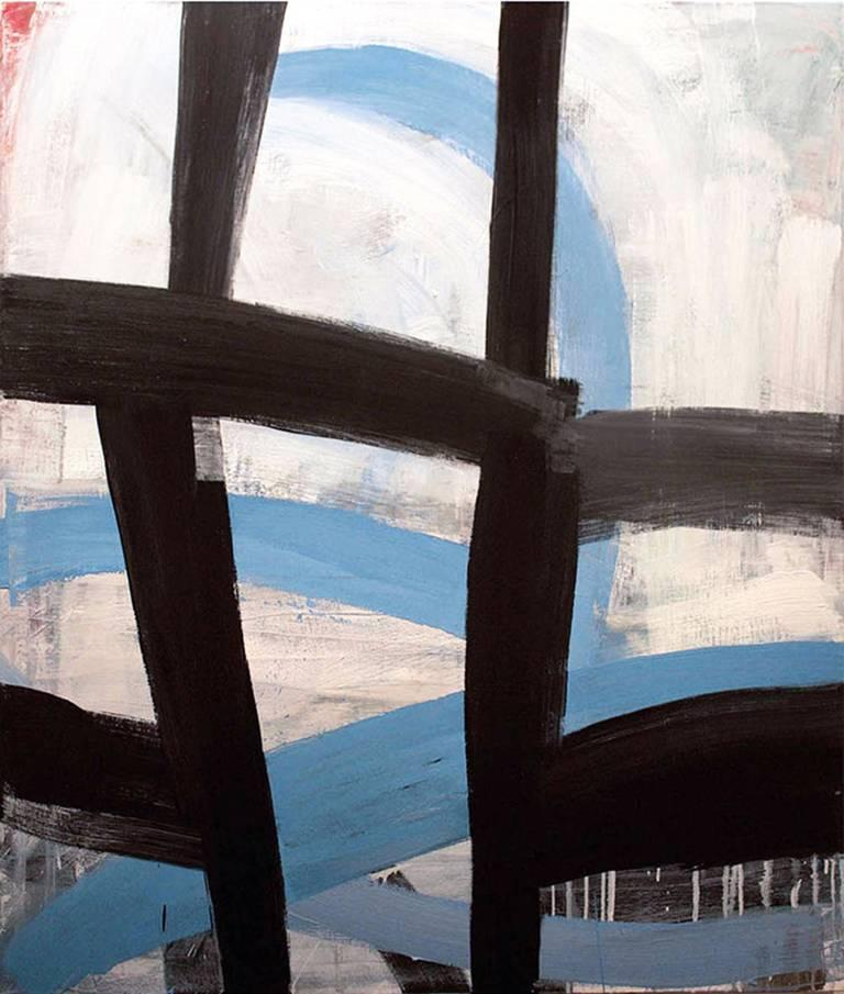 Clear Skies (Gestural Abstract Oil Painting in Black, Blue and White)