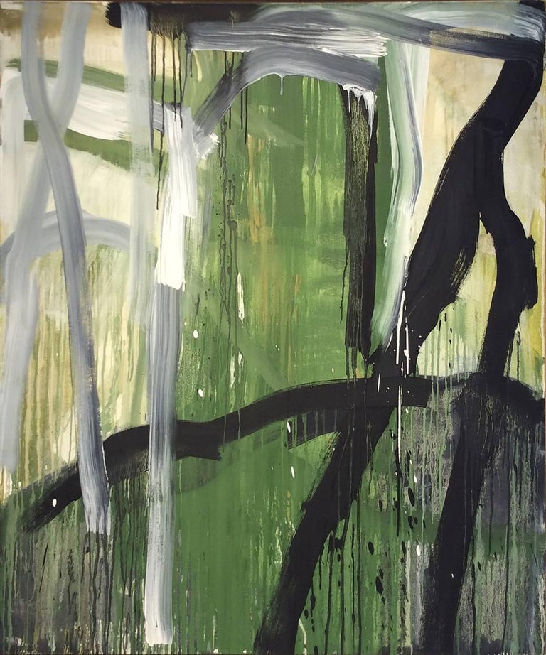In the Beginning: Vertical Abstract Expressionist Painting in Green and Black