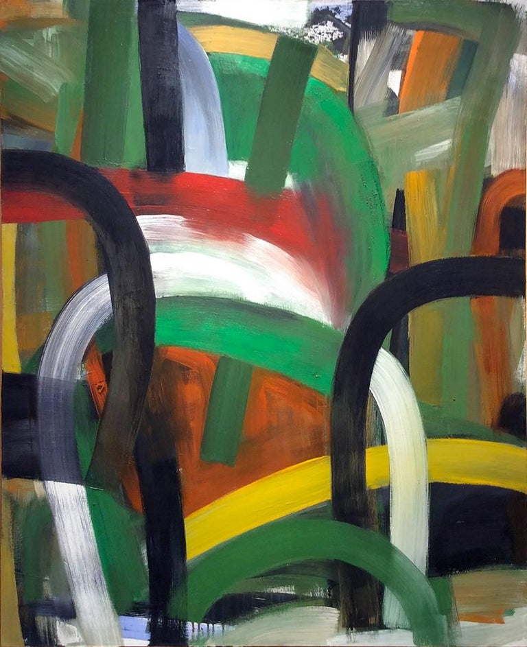 Parade (Large Abstract Expressionist Painting in Red, Yellow, Green, Black)