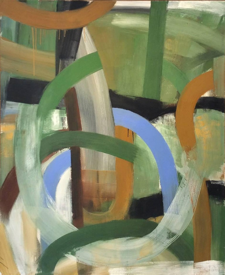 Christopher Engel - One Thing Leads to Another (Abstract Expressionist Oil Painting, Green & Browns) 1
