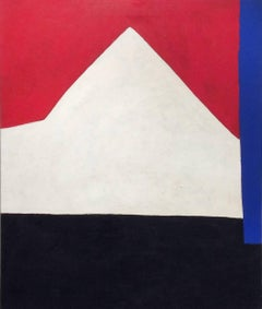 Barn (Abstract Minimalist Acrylic Painting on Canvas in Red, White and Black)