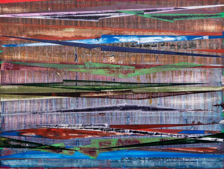 East-West #3 (Colorful Multi-Layered Abstract, Mixed Media Painting on Panel)