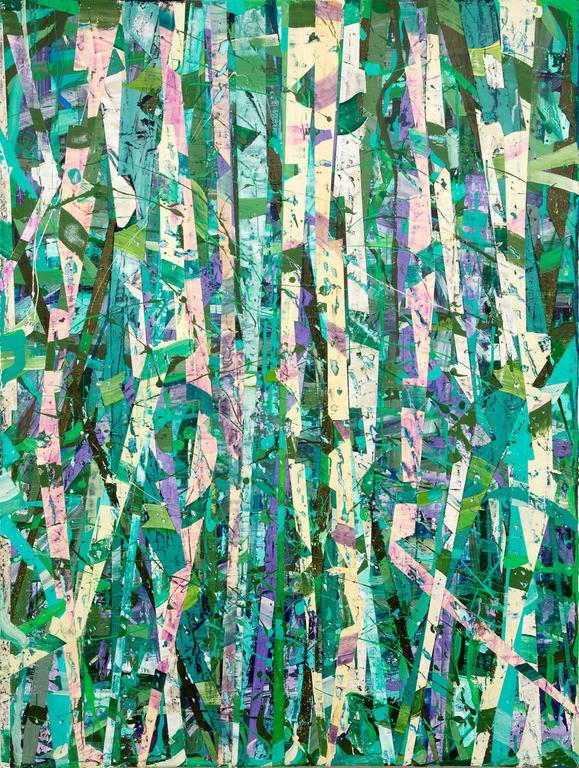 Vincent Pomilio - Taghkanic Creek, May 14 (Modern Abstract Painting on Canvas in Green & Teal) 1