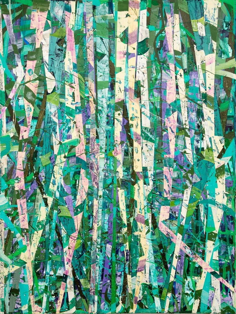Taghkanic Creek, May 14 (Modern Abstract Painting on Canvas in Green & Teal) - Mixed Media Art by Vincent Pomilio