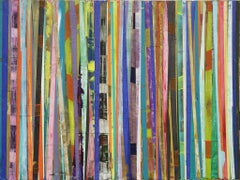 Bar-Code: Horizontal Mixed Media Painting with Colorful Vertical Striped Pattern