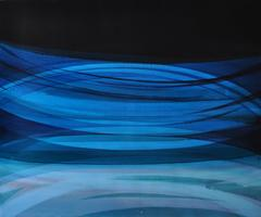Vortices (Contemporary Color Field Blue and Black Non Representational Painting)