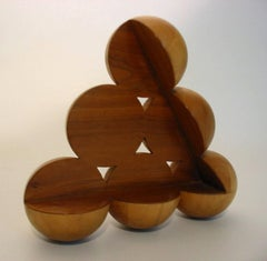 Tribal (Small Abstract Mid Century Modern Wood Table Sculpture)