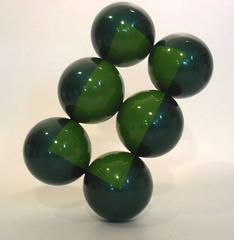 On the Verge (Mid Century Modern Inspired Stacked Balancing Balls in Dark Green)