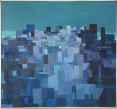 Blue City (Mid Century Modern, Abstracted Cityscape Oil Painting on Linen)
