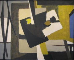 Blue on the Side: Abstract, Cubist Style Still Life Oil Painting c. 1965