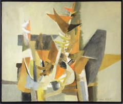 Lionel Gilbert - Small Flags (Mid Century Abstract, Cubist Oil Painting in Amber Yellow, Orange)