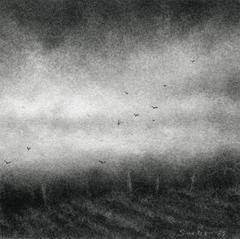 Edgeland XII (Modern Realist Miniature Charcoal Landscape Drawing on Paper)
