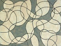 Untitled 13 (Contemporary Minimalist Line Drawing in Black, Cream, Slate Gray)
