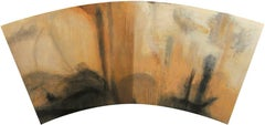 Fan Painting #7 (Contemporary, Abstract Painting in Earth Toned Brown Palette)