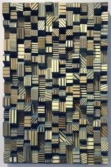 Ingottes (Abstract Vertical Wooden Wall Sculpture in Teal and Pale Ochre)
