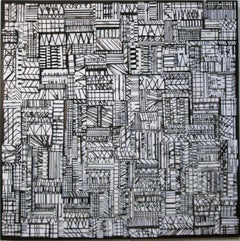 Korhago (Black and White Abstract Wooden Wall Sculpture)