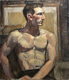 Shirtless Man (Contemporary Oil Portrait on Canvas of Muscular Male)