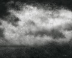 Beneath the Heavy Sky (Black & White Charcoal Landscape Drawing of Field & Sky)