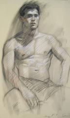 MB 045 (Figurative Charcoal Drawing on Paper of Male Nude Model)