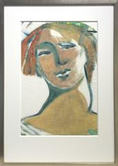 The Naked Truth (Expressionist Gestural Portrait of Female Figure, Custom Frame)