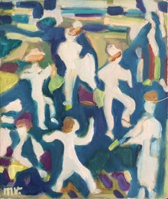 Market Day I (Joyful Blue, Green & White Figurative Painting)