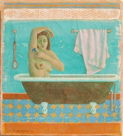 Blue Razor (Modern Fresco Secco Figurative Painting of Nude Woman in Bath)