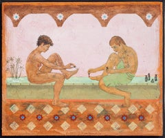 After the Bath (Modern Fresco Secco Painting of Nude Couple Bathing)