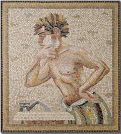 Shaving (Modern Marble Figurative Mosaic of Man Shaving in Neutral Colors)