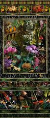 Conservatory (Vertical Still Life Photograph of Tropical Birds & Exotic Flowers)