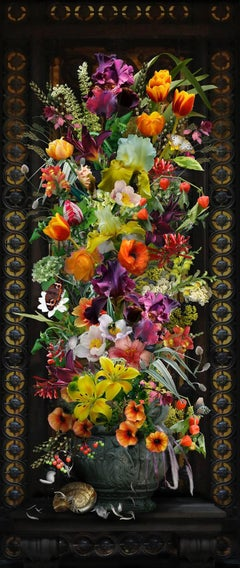 Ironwork (Vertical Digital Collage Print of Brightly Colored Flowers on Black)