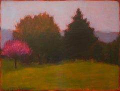 Spring Starts (Landscape Painting on Panel of Magenta Trees & Green Forest)