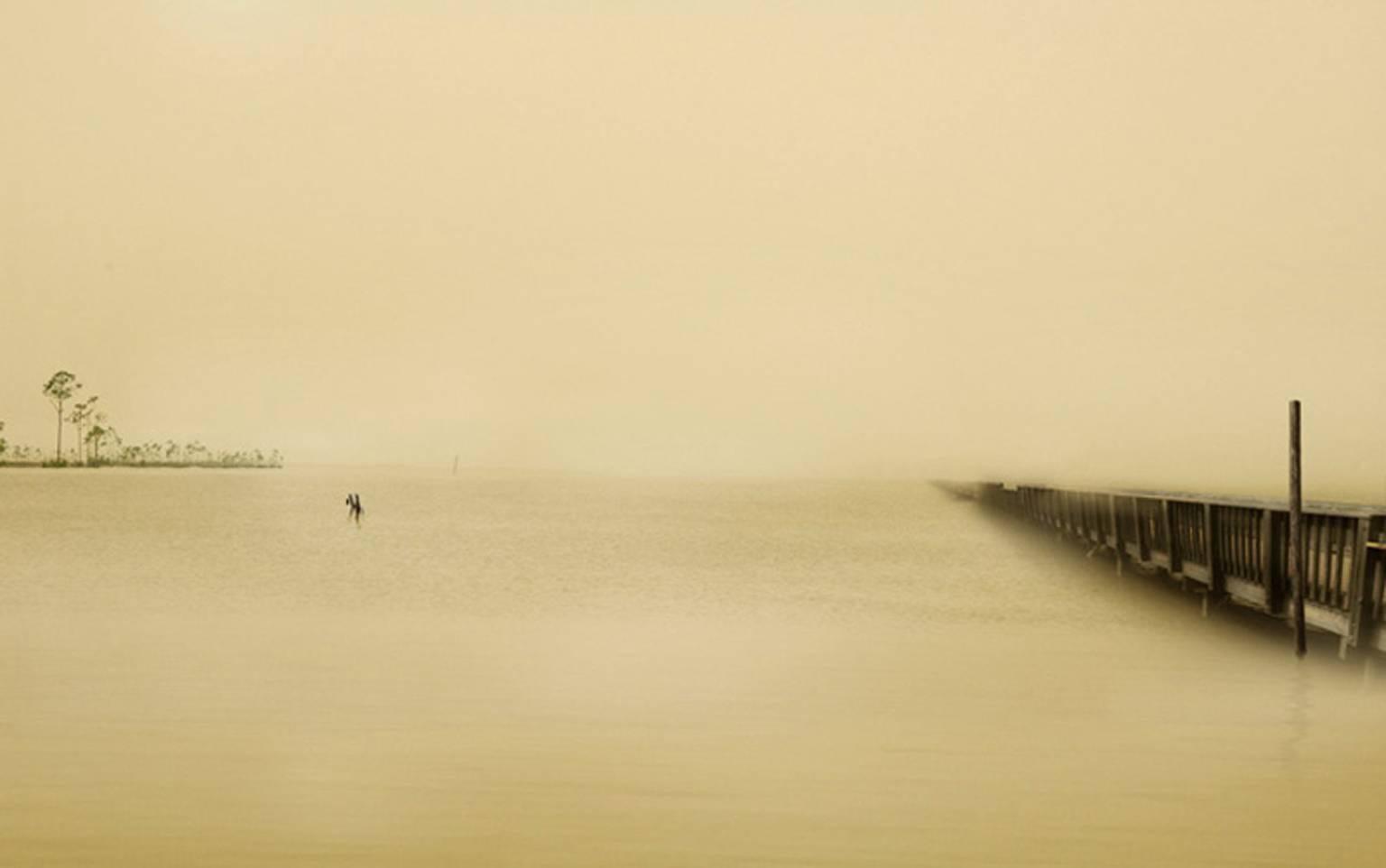 Horizon Fields LV (Minimalist Landscape photo of Island and Wooden Dock)