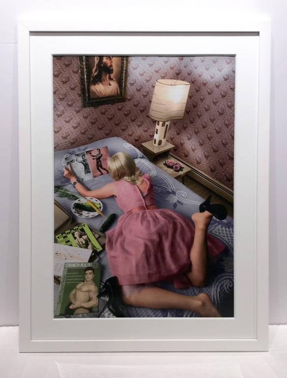 Pages of a Magazine (Modern Photograph of Blonde 1950's Housewife in Pink Dress) - Brown Color Photograph by Newbold Bohemia
