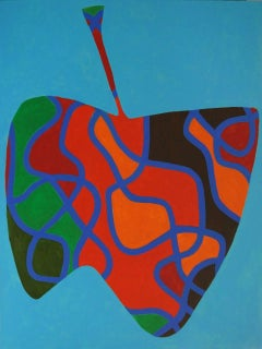 Apple #3 (Modern, Abstract Graphic Painting in Teal & Royal Blue, Red, & Orange)